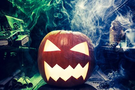 Closeup of scary pumpkin for Halloween Stock Photo