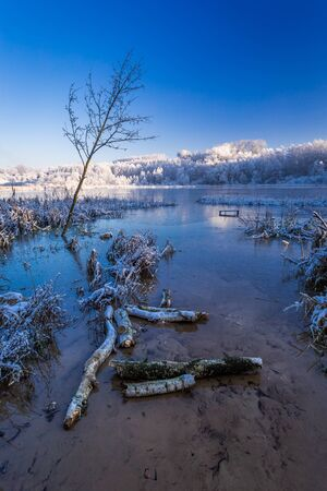 january sunrise: Cold sunrise on winter lake covered with snow