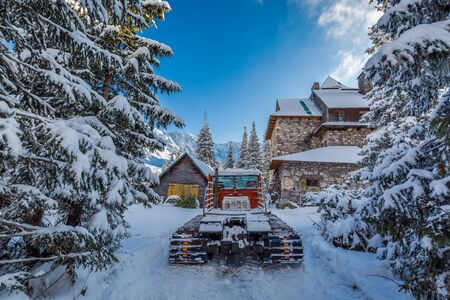 snow grooming machine: Snow groomer in Tatra Mountains in winter, Poland