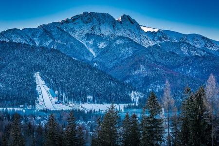 Giewont peak at dawn in Zakopane in winter, Tatra Mountains, Poland