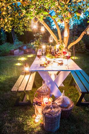 チーズと肉の夕暮れ時に庭の豪華なテーブル