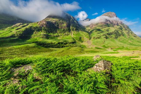 glencoe: Beautiful sunrise over the mountains in Glencoe, Scotland