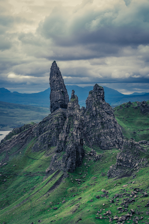 Beautiful view to Old Man of Storr in Isle of Skye, Scotland Stock Photo