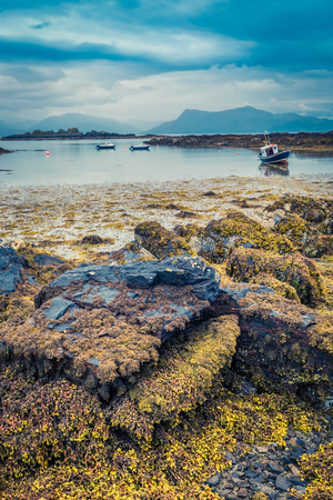 aground: Coast at low tide and ships aground in Scotland