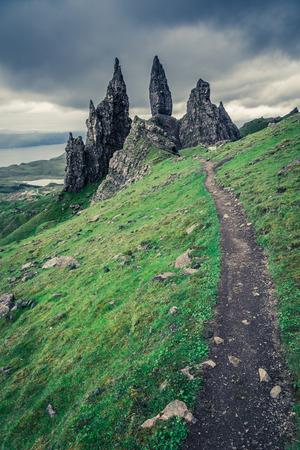 skye: Footpath to Old Man of Storr in Isle of Skye, Scotland