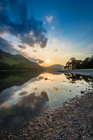 lake district: Wonderful dusk at lake with reflection in District Lake, England Stock Photo