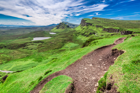 Quiraing to valley in Scotland at summer, United Kingdom Stock Photo