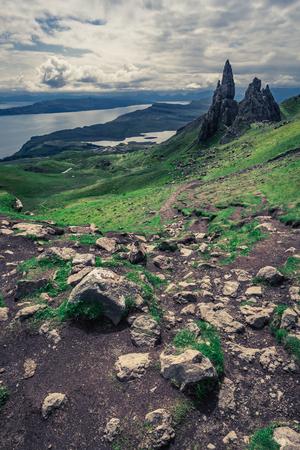 skye: Stunning view to Old Man of Storr in Isle of Skye, Scotland