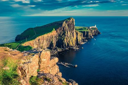 네스트 포인트 등대, 스코틀랜드에서 숨막히는 일몰
