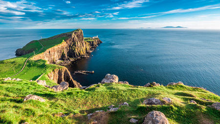 Stunning dusk at the Neist point lighthouse in Isle of Skye, Scotland