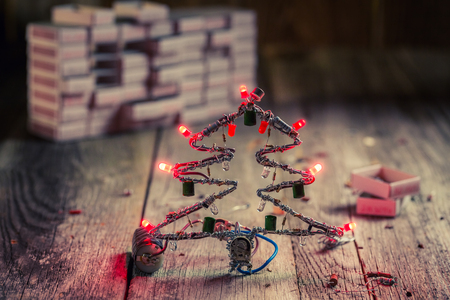 Christmas tree made of led and electronic components