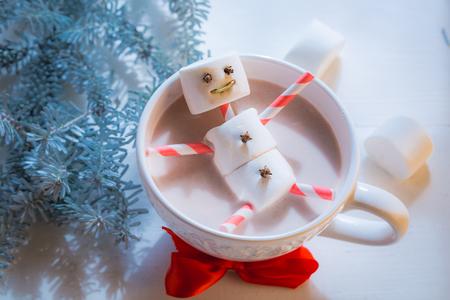 Closeup of funny marshmallows snowman for Christmas Stock Photo