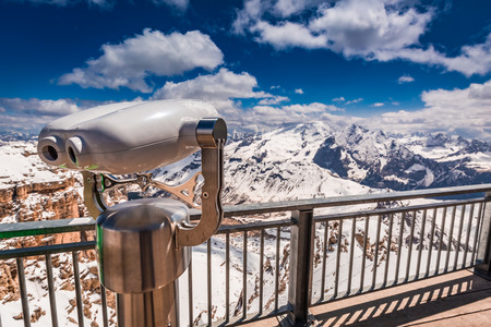 Wonderful view from the top of Sass Pordoi, Dolomites, Italy