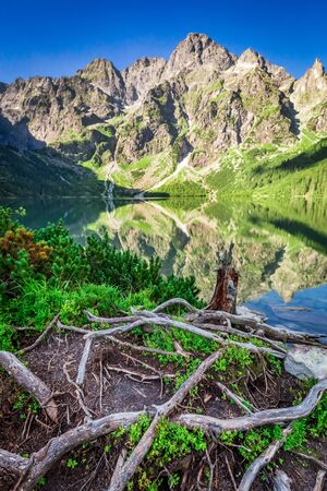 Beautiful dusk at pond in the Tatra Mountains in summer Stock Photo