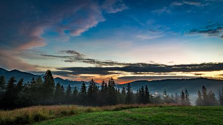 giewont: Beautiful Tatra mountains at dusk view from Zakopane
