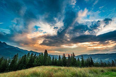 giewont: Stunning Tatra mountains at dusk view from Zakopane