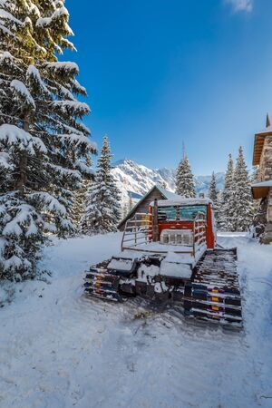 groomer: Snow groomer in Tatra Mountains in Poland