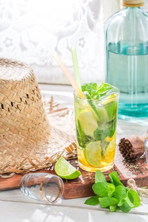 Homemade mohito made of fresh fruits and mint