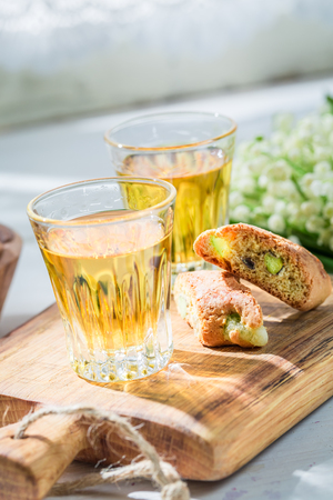 Delicious biscotti with pistachios and Vin Santo wine