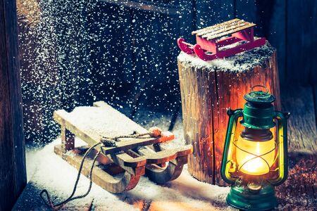 Retro winter hut as a philosophy Hygge Stock Photo