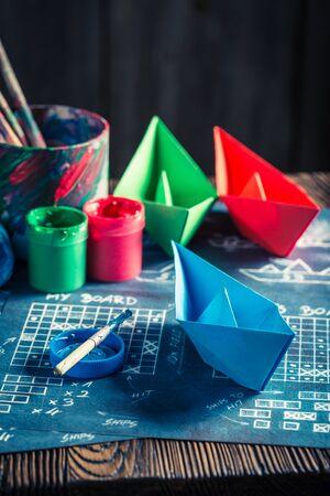 Retro battleship paper game ready to play