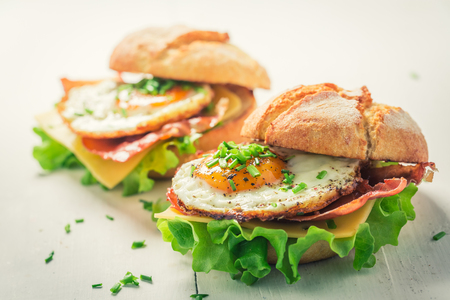 Delicious burger with eggs, cheese and bacon
