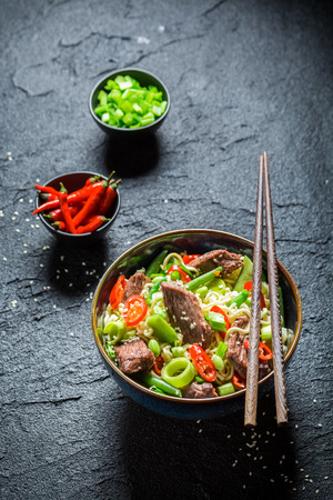 hot asian: Hot asian noodle with beef chilli peppers