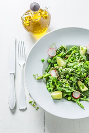 Healthy vegetarian salad with mix of vegetables Stock Photo
