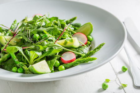 Homemade green salad with mix of vegetables Stock Photo