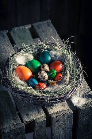 Fresh Easter eggs in the rustic cottage Stock Photo