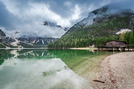 Stunning view of Pragser Wildsee in Dolomites, Europe