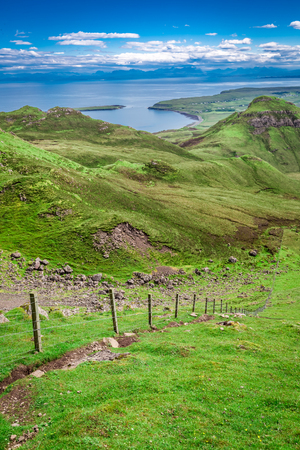 View from Quiraing in Isle of Skye, Scotland, United Kingdom Stock Photo
