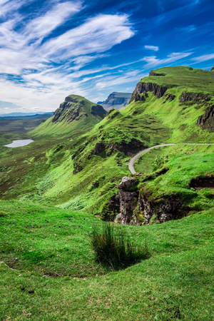 Breathtaking view from Quiraing to valley in Scotland, UK Stock Photo