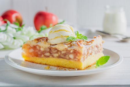 Closeup of apple pie and ice cream made of apples Stock Photo