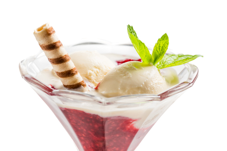 trifle: Vanilla ice cream and hot raspberry mousse on white background