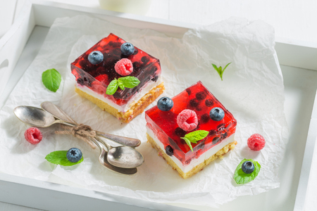 Delicious cheesecake made of jelly and berries