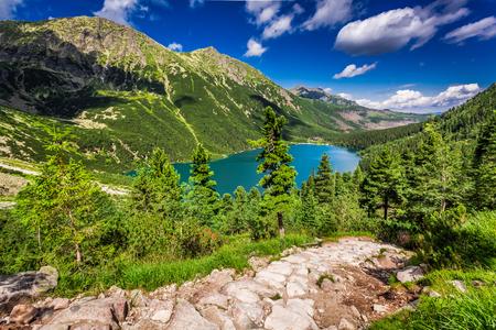 Beautiful blue lake in the mountains, Poland, Europe Stock Photo