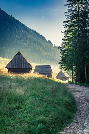 Wonderful sunrise in Valley Chocholowska, Tatra Mountains, Poland, Europe