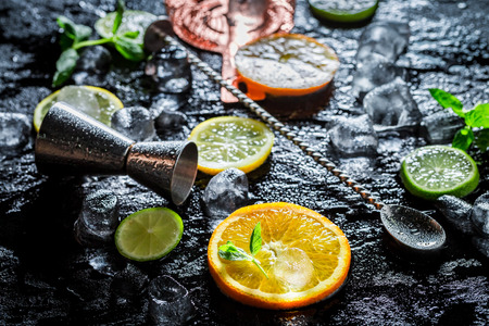 Bartender accessories with spoon, strainer and measure Stock Photo