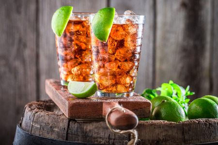 Sweet iced tea with lime and ice Stock Photo
