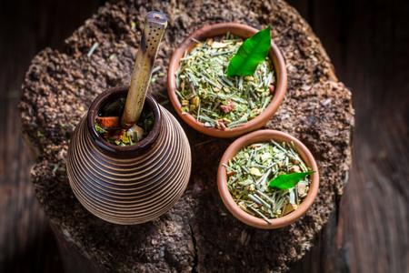yerba mate: Full of flavor yerba mate made of fresh dried leaves