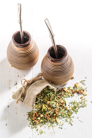 Healthy yerba mate made of fresh dried leaves 版權商用圖片
