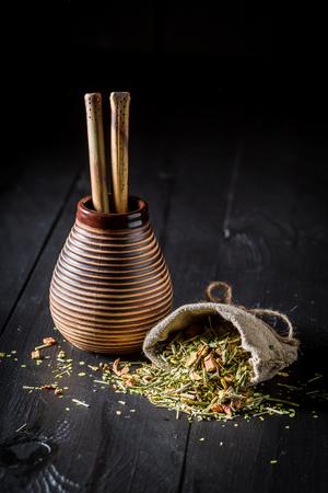 Energizing yerba mate made of fresh dried leaves