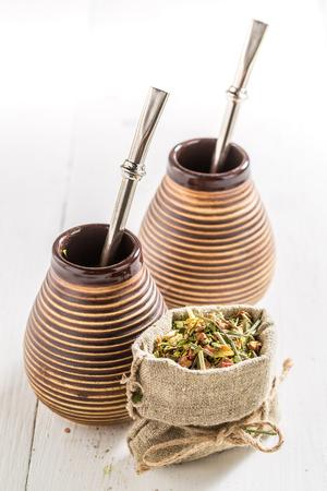 yerba mate: Delicious yerba mate with calabash and bombilla