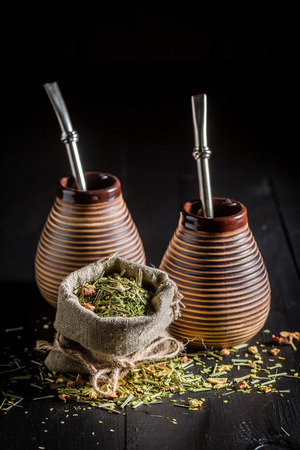 Energizing yerba mate with calabash and bombilla Stock Photo