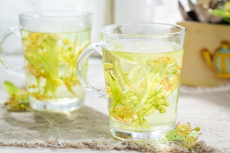 Closeup of healthy linden tea with honey Stock Photo