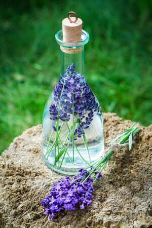 Homemade healthy tincture of lavender in summer garden