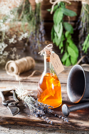 Aromatic tincture as natural medicine with herbs Stock Photo