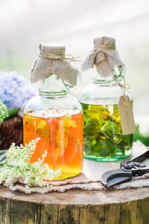 Clouseup of herbs in bottles as natural medicine