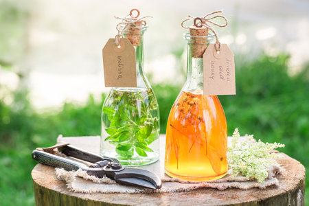 Homemade tincture as natural medicine in summer Stock Photo